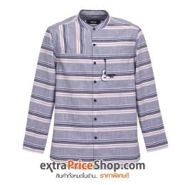 เสื้อเชิ้ตคอจีนแขนยาว ลายสีน้ำเงิน-ขาว