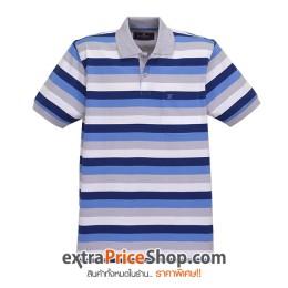 เสื้อโปโลลายขวางสีฟ้า-เทา-ขาว