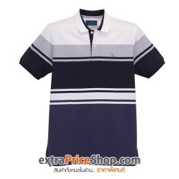 เสื้อโปโล Slim Fit ลายสีน้ำเงิน-เทา-ขาว