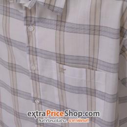 เสื้อเชิ้ตแขนสั้นสีขาว ลายเส้นสีเบจ-เทา