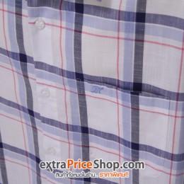 เสื้อเชิ้ตแขนสั้นสีขาว ลายเส้นสีน้ำเงิน