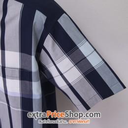เสื้อเชิ้ตแขนสั้นลายสีน้ำเงิน-ขาว