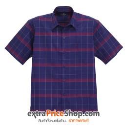 เสื้อเชิ้ตแขนสั้นลายสีน้ำเงิน-แดง