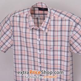 เสื้อเชิ้ตแขนสั้นลายสีขาว-เทา-ส้ม