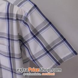 เสื้อเชิ้ตแขนสั้นลายสีขาว-น้ำเงิน