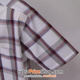 เสื้อเชิ้ตแขนสั้นลายสีขาว-แดง-น้ำเงิน