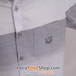 เสื้อเชิ้ต Slim Fit แขนสั้นลายสีเทา-ขาว