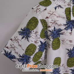เสื้อเชิ้ตแขนสีขาว พิมพ์ลายสับปะรด