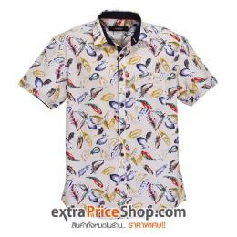 เสื้อเชิ้ตแขนสีครีม พิมพ์ลายขนนก