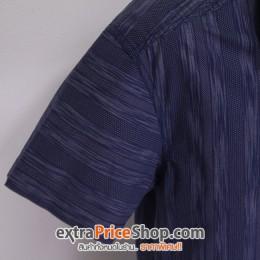 เสื้อเชิ้ตแขนสั้นสีน้ำเงินมีลาย