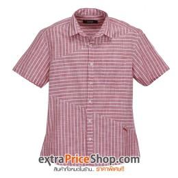 เสื้อเชิ้ตแขนสั้นสีแดง ลายเส้นสีขาว