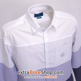 เสื้อเชิ้ต Slim Fit แขนยาวมีลาย สีน้ำเงิน-ขาว