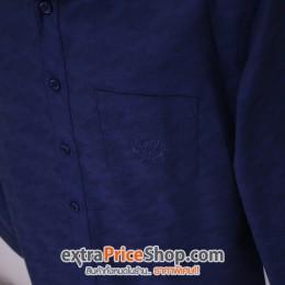 เสื้อเชิ้ต Slim Fit แขนยาวสีน้ำเงินมีลาย