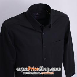 เสื้อเชิ้ต Slim Fit แขนยาวสีดำ