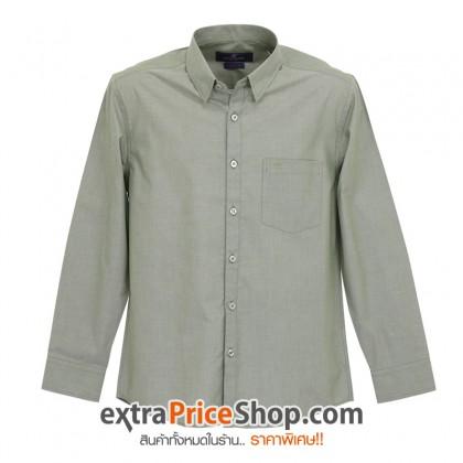 เสื้อเชิ้ตแขนยาวสีเทา-เขียว