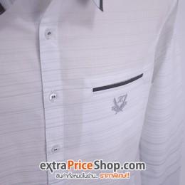 เสื้อเชิ้ต Slim Fit แขนยาวสีขาว ลายเส้นสีเทา