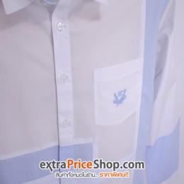 เสื้อเชิ้ต Slim Fit แขนยาวลายสีขาว-ฟ้า